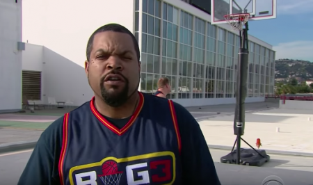 Ice Cube and James Corden battled it out on the hard court during the Late Late Show on Monday night.