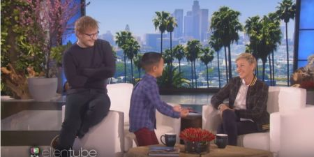 "Ed approved of Kai's rendition of ""Thinking Out Loud"" on ""Ellen."""