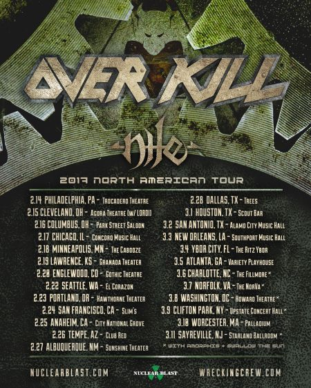 Overkill kicks off 2017 North American tour