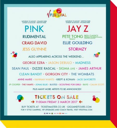 Jay Z and P!nk will headline this year's V Fest in the U.K. this coming August.
