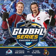 NHL Ottawa Senators vs. Colorado Avalanche (Colorado's home game) tickets at ERICSSON GLOBE/Stockholm Live in Stockholm