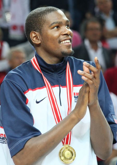 Shown here playing for Team U.S.A., small forward Kevin Durant is now hurt, and the Golden State Warriors would be wise to rest him for as l