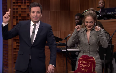 Jennifer Lopez and Jimmy Fallon engaged on a friendly dance contest on The Tonight Show on Wednesday.