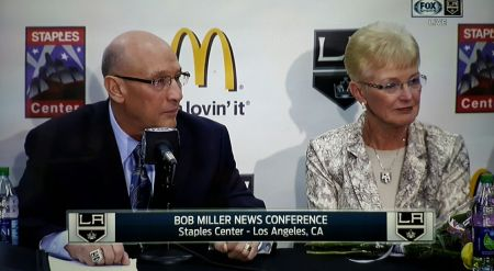 With wife Judy at his side, Bob Miller announces his retirement from broadcasting.