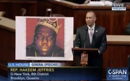 "Brooklyn Congressman Hakeem Jeffries recited lyrics to Biggie Small's ""Juicy"" on the floor of the House of Representatives in Washington D.C"