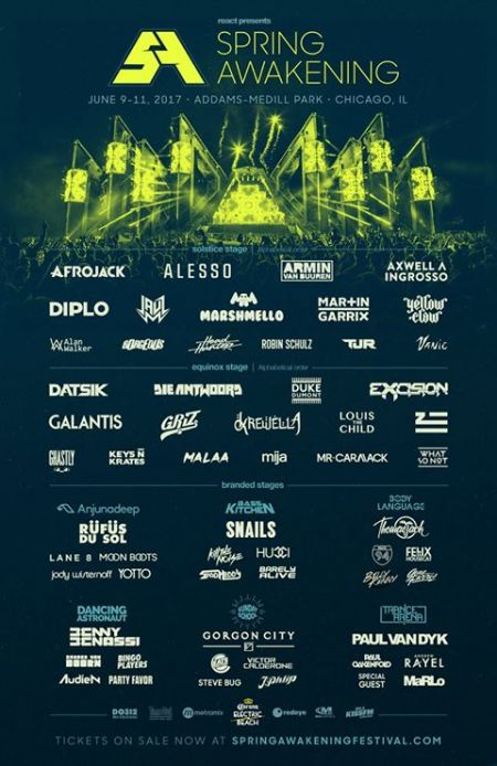 Chicago EDM music festival, Spring Awakening, released its full lineup on Friday.