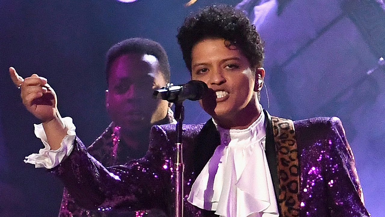 Bruno Mars' drums from Grammy Awards Prince tribute donated to the Grammy Museum