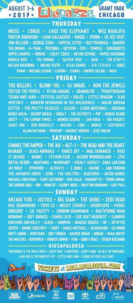 Complete lineup announced for Lollapalooza 2017