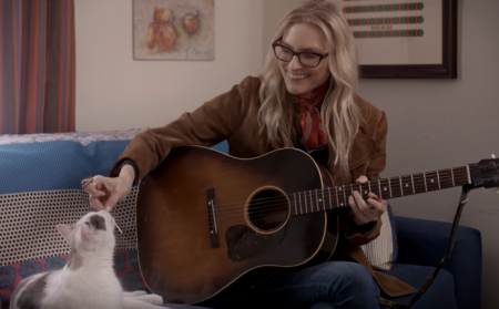 """Aimee Mann channels her inner cat lover in the new music video for """"Goose Snow Cone."""""""