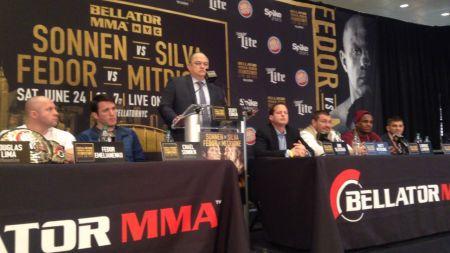 Matt Mitrione snaps selfie with Lorenz Larkin at Bellator NYC press conference
