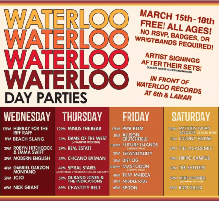 Austin's beloved independent music store, Waterloo Records books day parties in their parking lot over four days each SXSW. Friday's perform