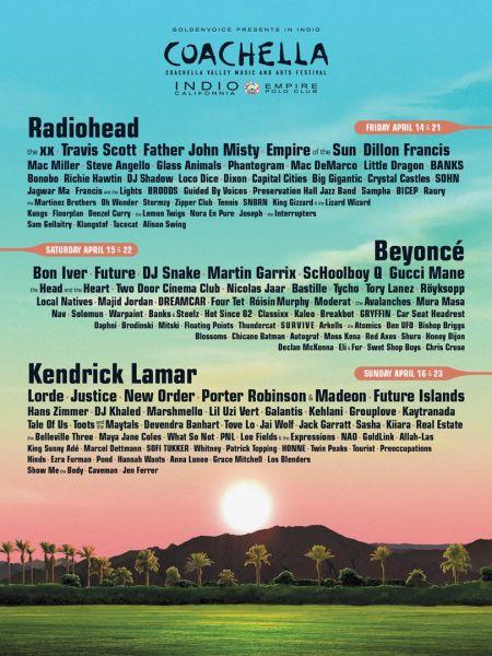 Radiohead, Beyonce and Kendrick Lamar are headlining Coachella 2017