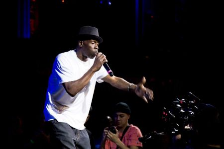 MARCH 30: LOS ANGELES, CA - Rappin' 4-Tay joins Eric Bryan Stone at the Globe Theatre for 'Testify to Hip Hop.'