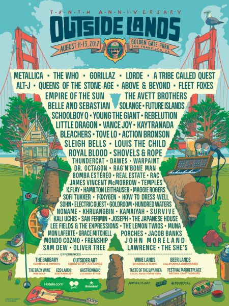 Outside Lands 2017 much-anticipated headliners: Gorillaz, Metallica and The Who.