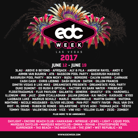 Additional names and venues announced for EDC Week, June 12-19.
