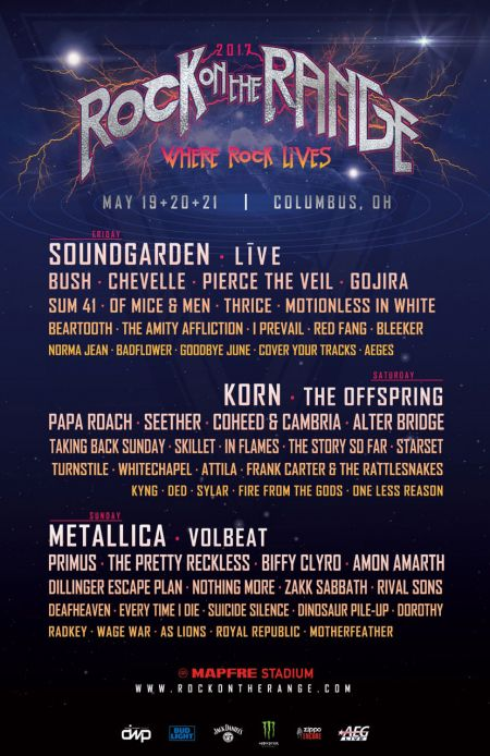 The lineup for this year's Rock on the Range music festival.