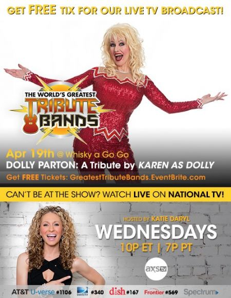 Catch Karen as Dolly, a Tribute to Dolly Parton on 'The World's Greatest Tribute Bands' April 19 on AXS TV