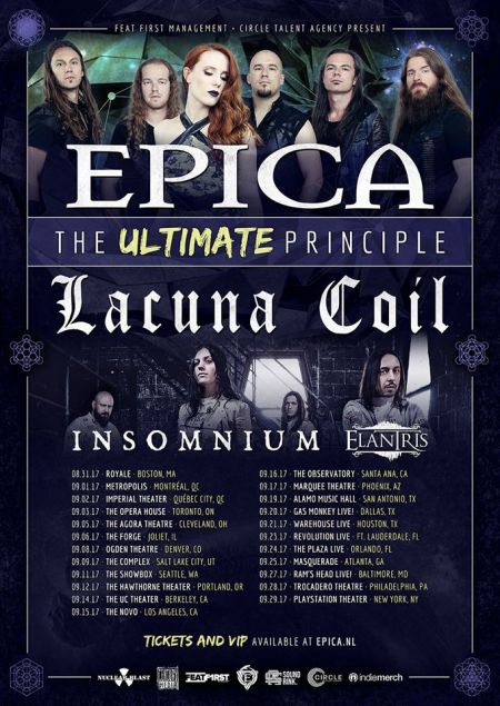 Epica will visit cities across North America this September for The Ultimate Principle Tour.