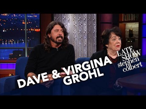 Watch: Dave Grohl takes one for the team to help his mom promote her new book on 'Colbert'