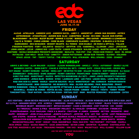 <p/>The complete lineup for EDC Las Vegas 2017<br /> &#8221; align=&#8221;left&#8221; border=&#8221;0&#8243; /><br /> </a>Headliners, it&#8217;s time. It&#8217;s time to head home. It&#8217;s time to head home to that place where all – regardless of age, race, orientation, identification – are welcome. That beautiful electric sky is calling you, and todaythat call was set on fire.<br /> The official lineup for EDC Las Vegas 2017 was&#8230;</p> <p class=