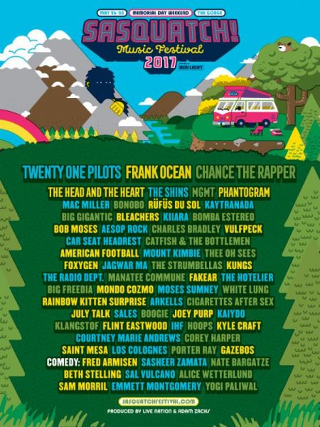 2017 Sasquatch! Music Festival Promotional Lineup Poster