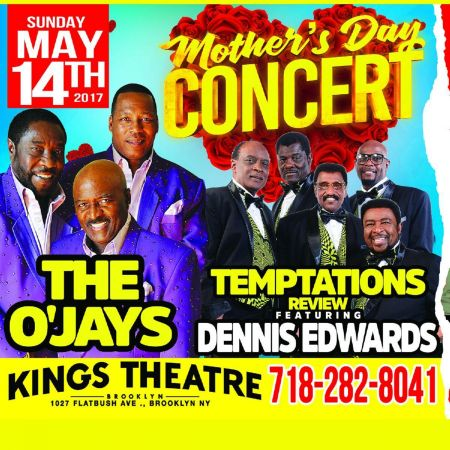 Mother's Day concert with The O'Jays, Temptations Review feat. Dennis Edwards on May 14, 2017.