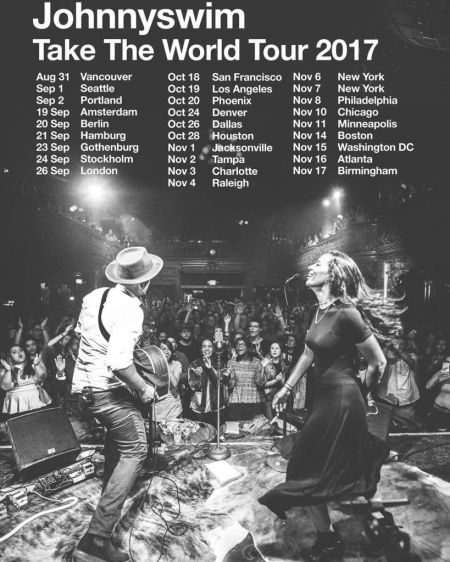 Acoustic folk duo Johnnyswim will embark on a world tour this fall.