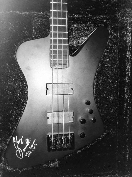 Autographed Dean Hybrid Pro John Entwistle Signature Model bass guitar used on the Fear No Evil 30th Celebration Tour of South America in th