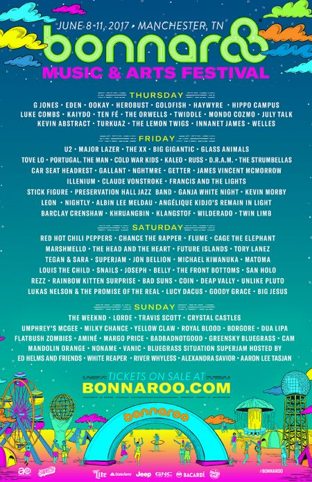 Complete 2017 Bonnaroo set times and lineup