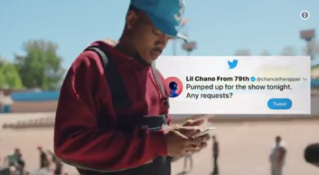Chance hears from a mix of fans and colleagues in a new Twitter ad.