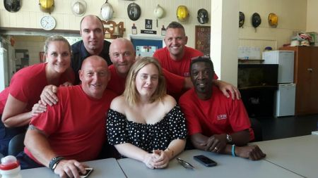 Adele stopped in to a London Fire Brigade station on Monday to share tea with the men and women who fought the blaze atGrenfell Tower last