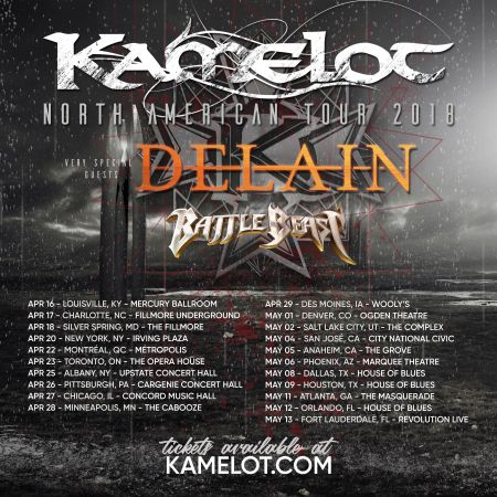Kamelot announce 2018 North American tour in support of upcoming album