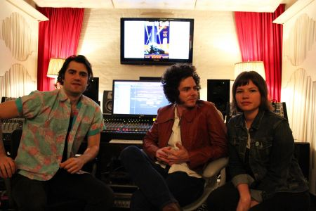 French Horn Rebellion's Robert and David Perlick-Molinari, and Deidre Muro (Violet Sands/Savoir Adore) seen at their YouTooCanWoo studio in