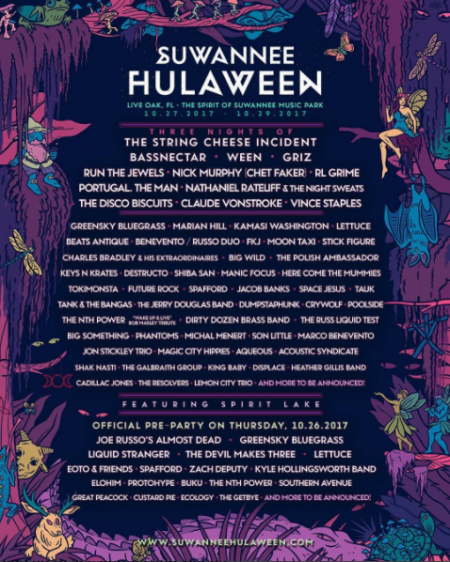 The official 2017 Suwannee Hulaween lineup