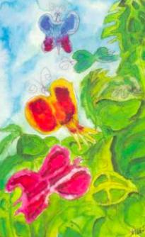 An original Jerry Garcia painting of butterflies