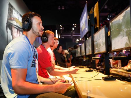 "Larry Nance Jr. visits Activision's ""Call of Duty: WWII"" booth during E3 2017 at the Los Angeles Convention Center on Wednesday, June 14, 20"