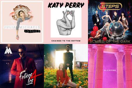 Julia Michaels, Katy Perry, Steps, Maluma, Lana Del Rey and Blackpink single covers