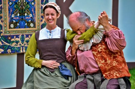 "Jennifer Hodges as Mistress Ford and John Ellis as Falstaff in BPA's production of ""Merry Wives."""