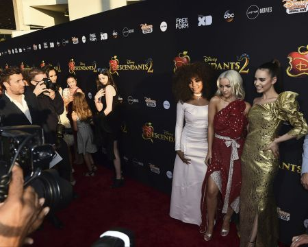 LOS ANGELES, CA - July 11: Stars of Disney's 'Descendants 2,' China Anne McClain, Dove Cameron and Sofia Carson, celebrate the movie's premi