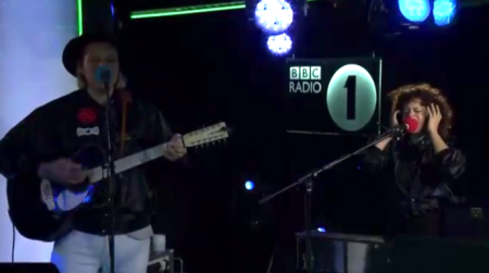 "Arcade Fire perform a cover of Lorde's ""Green Light"" at BBC 1 Radio."