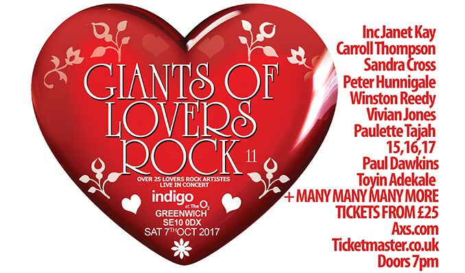 Giants of Lovers Rock 11 tickets at indigo at The O2 in London
