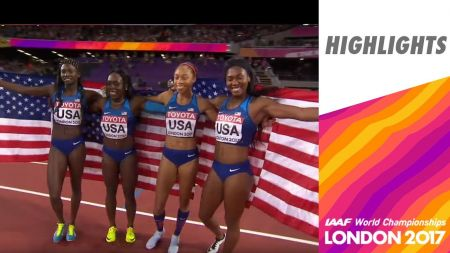 USA wins gold in women's 4x100m at IAAF World Championships