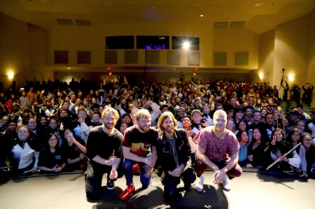 Las Vegas, Nevada - Sep. 21: Imagine Dragons play a private show for the kids at Ed W. Clark High School in support of the #ToyotaGiving cam