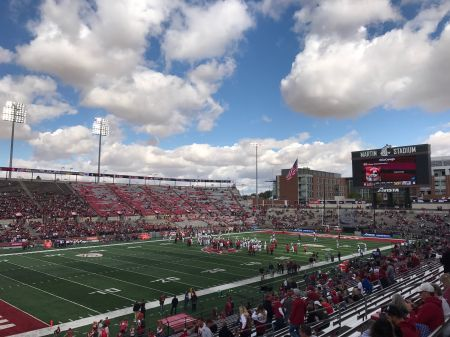 Martin Stadium, shown here last Saturday when Washington State hosted Nevada, is the site of the big national matchup of the week tonight in