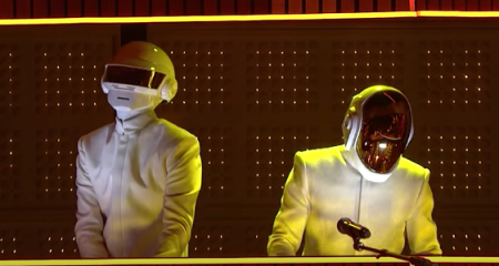 Daft Punk perform at the 2014 Grammy Awards. They'll be making their first live performance since then on February 12 when they perform alon