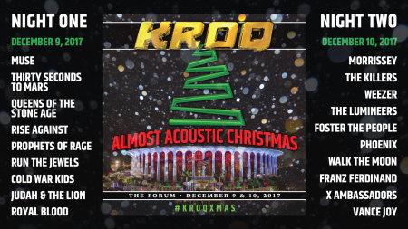 Kroq Almost Acoustic Christmas 2019, December 10 Muse, Morrissey, QOTSA and The Killers announced for KROQ's Almost