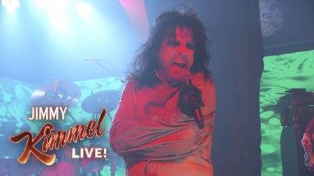 Foo Fighters play with Alice Cooper, Dave Grohl dresses as David Letterman and more on 'Jimmy Kimmel Live'