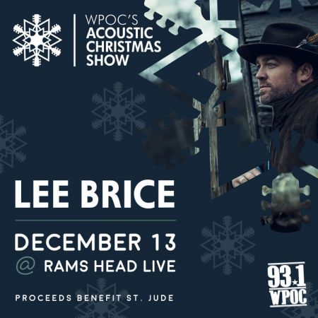 Lee Brice will headline WPOC's Acoustic Christmas Concert at Baltimore's Rams Head Live