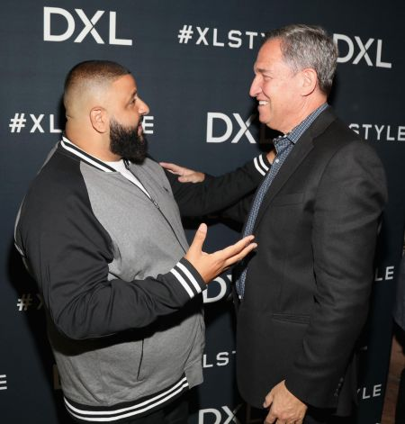 LOS ANGELES, CA - NOVEMBER 07: DJ Khaled (L) and CEO, DXL Group, David Levin at the launch of DXL's 2017 Holiday Campaign with DJ Khaled at
