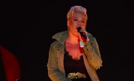 <p>P!nk performs at the 51st CMA Awards.</p>